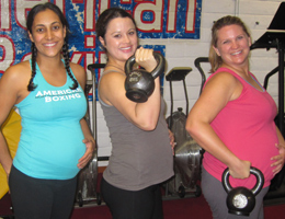San Diego Personal Trainer Gina Reyes trains pre natal and post natal kettlebells with pregnant women.